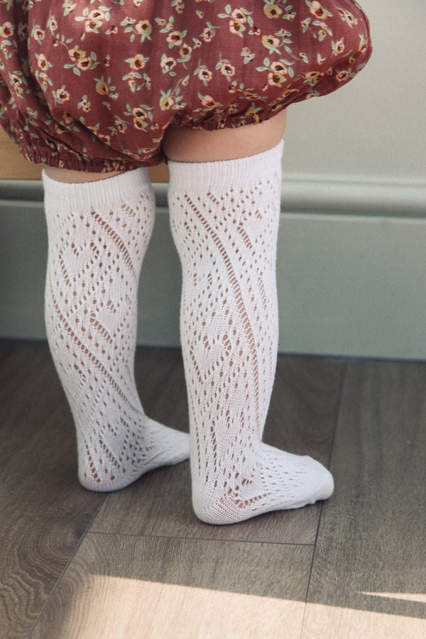 Minnie and Monty White Pereline Knee High Socks