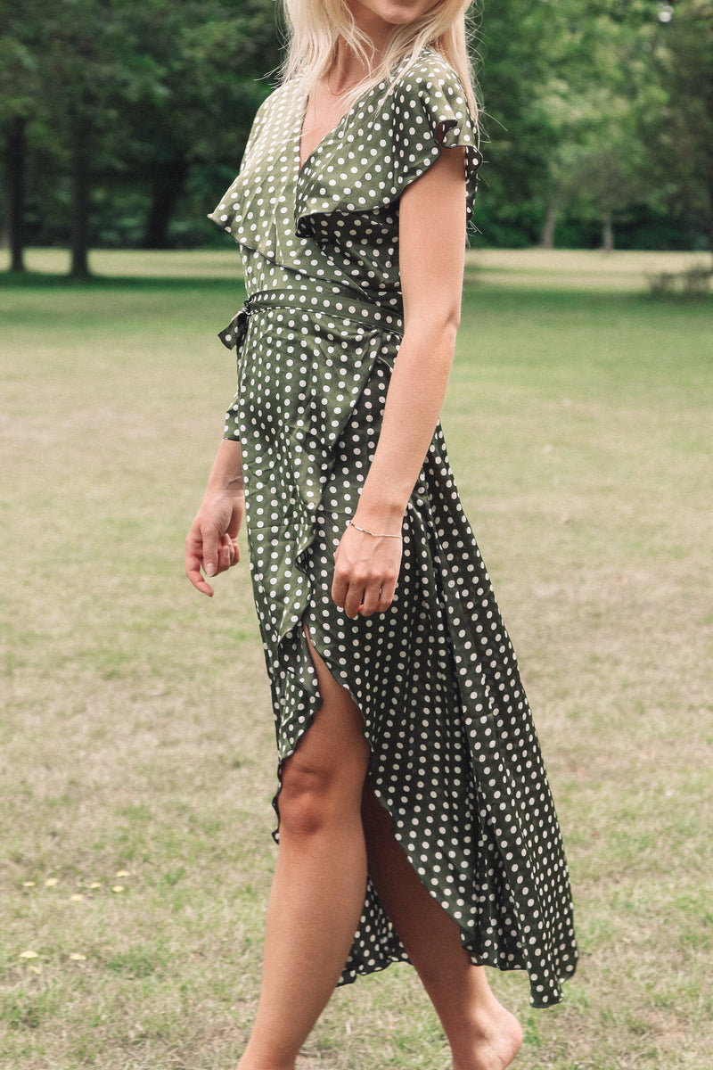 Olive Green Spot Satin Wrap Midi Dress