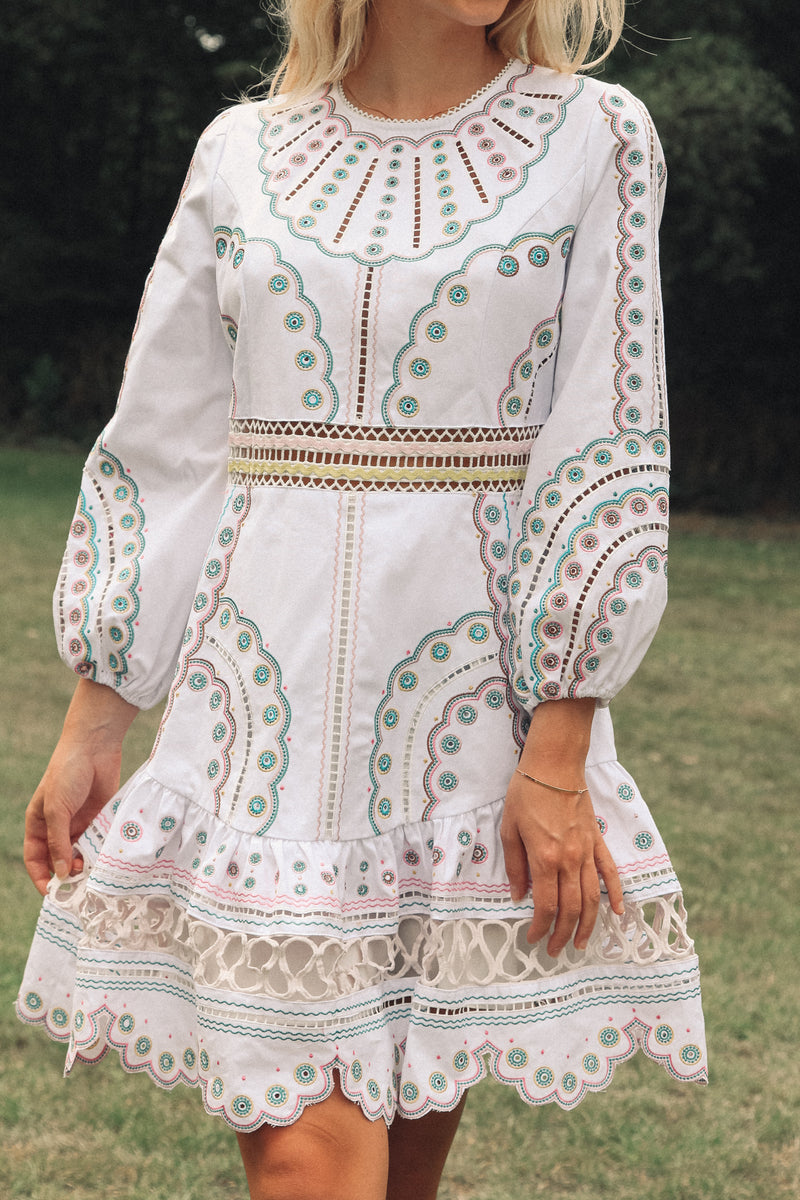 White Embroidered Frill Dress
