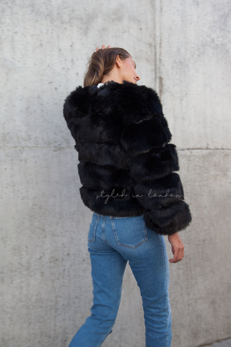 Soho Black Faux Fur Short Panelled Jacket