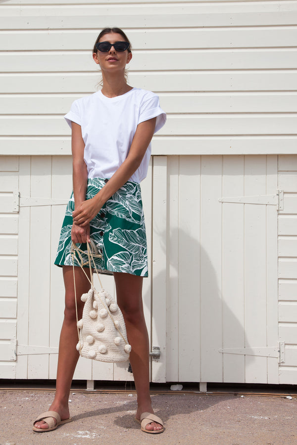 Green Palm Linen Button Down Skirt