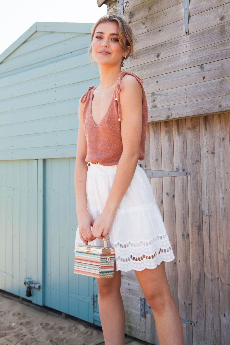 White Cotton Broderie Trim Skirt