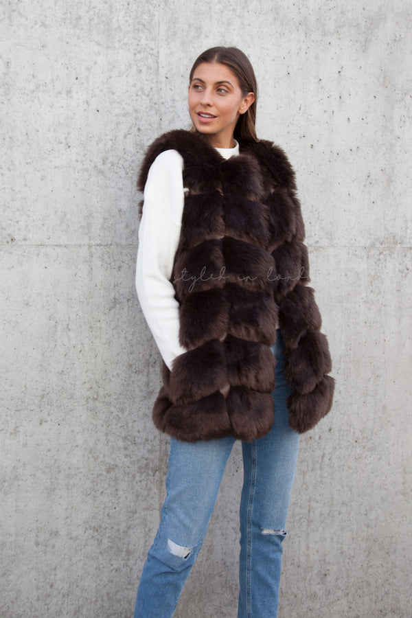 Soho Brown Faux Fur Panelled Gilet