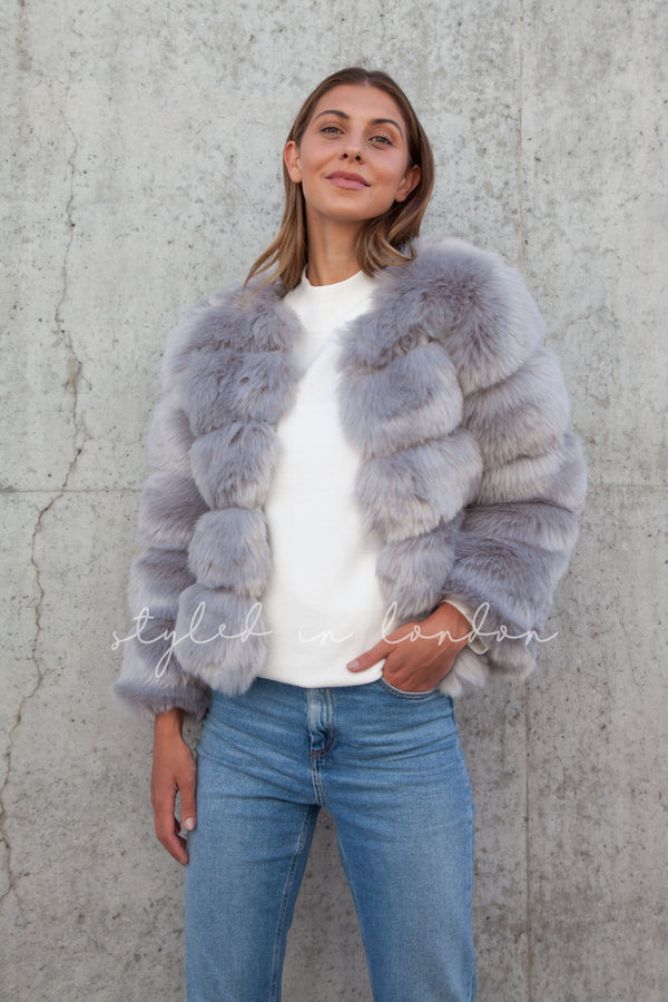 Soho Grey Faux Fur Short Panelled Jacket
