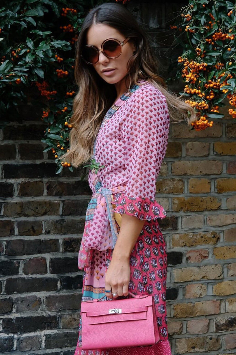 Styled in London Website, Styled in London Clothes, Styled in London Dress, Louise Thompson Dress, Printed Pink Wrap Dress, Multi Printed Dress, Frill Hem Dress, Wrap Style, Wrap Dress
