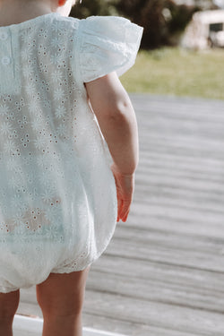 White Cotton Broderie Frill Sleeve Romper