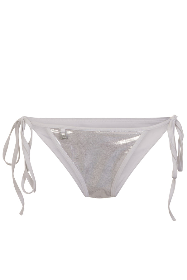 Quontum Silver & White String Tie Side Bikini Briefs
