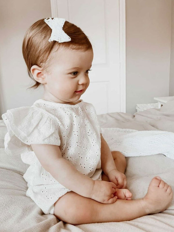Minnie and Monty White Cotton Broderie Frill Sleeve Romper