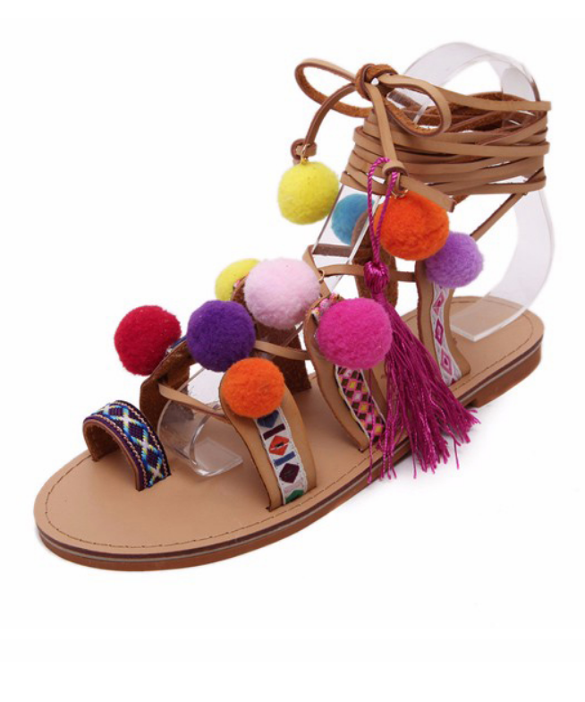 Pom Pom Lace Up Sandals