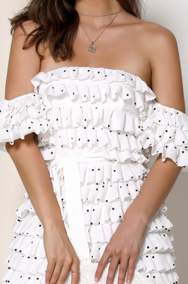 Hepburn White Polka Dot Layered Ruffle Mini Dress