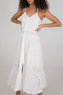 White Cotton Broderie Anglaise Midi Summer Dress