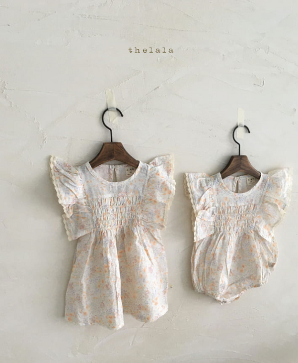 Minnie and Monty THELALA Floral Cotton Melo Romper
