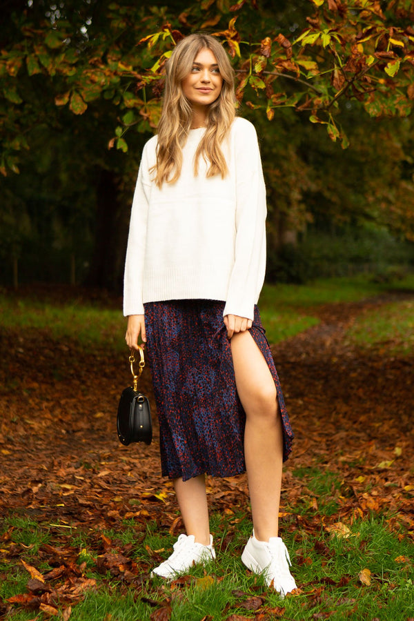 Purple Leopard Pleated Midi Skirt