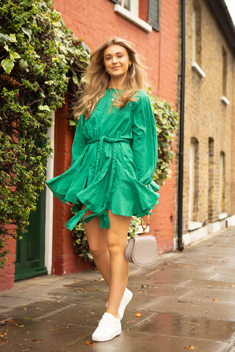 Green Boho Style Long Sleeve Mini Dress