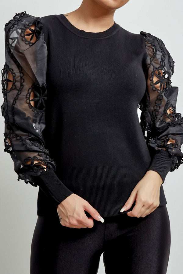 Organza Puff Sleeve Top in Black