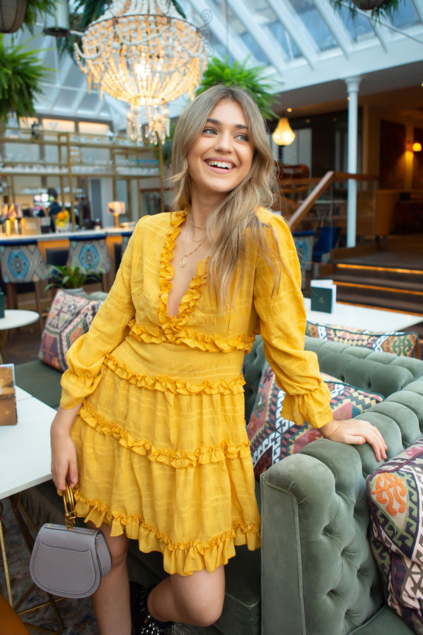 Mustard Chiffon Frill Open Back Dress