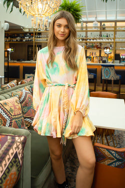 Pastel Mix Boho Style Long Sleeve Mini Dress