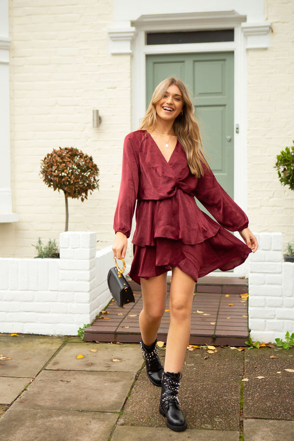 Burgundy Satin Long Sleeve Mini Dress