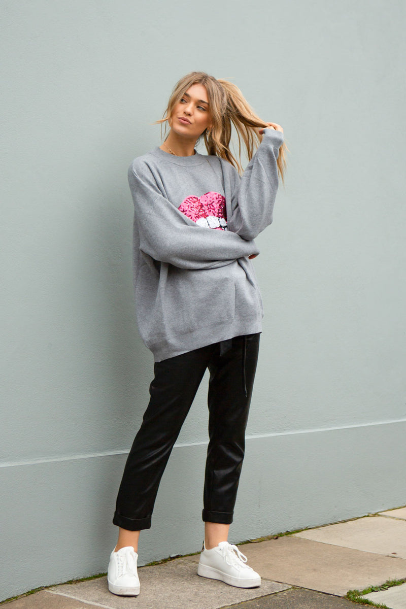 Sequin Lips Oversized Soft Jumper in Grey