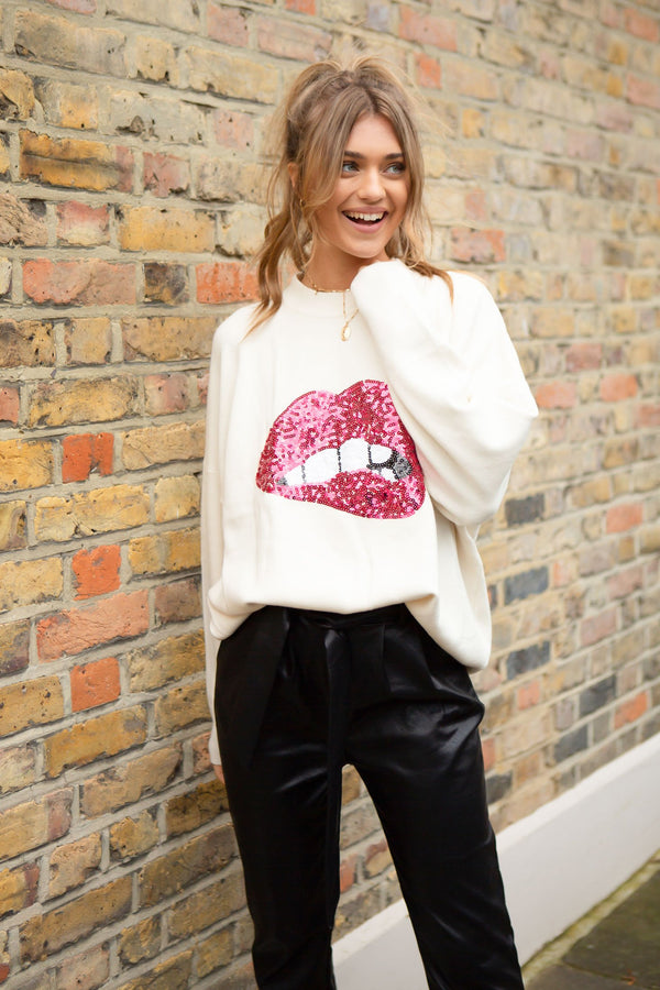 Sequin Lips Oversized Soft Jumper in Cream