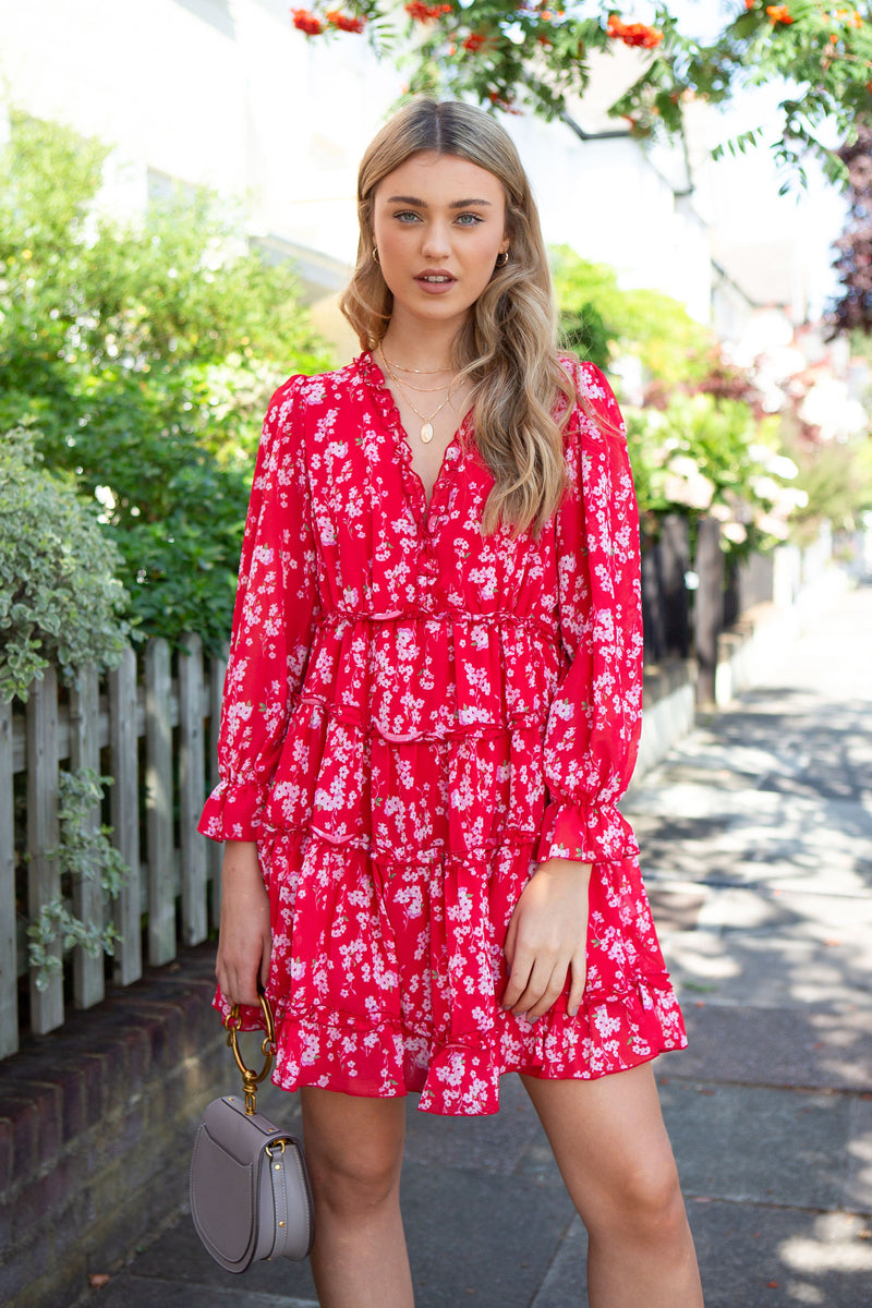 Red Floral Chiffon Frill Dress