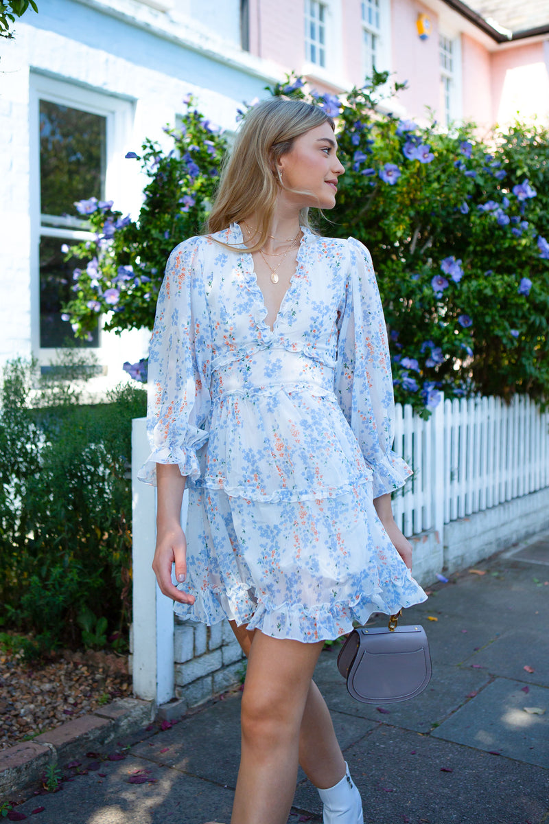 White/Blue Floral Chiffon Frill Dress