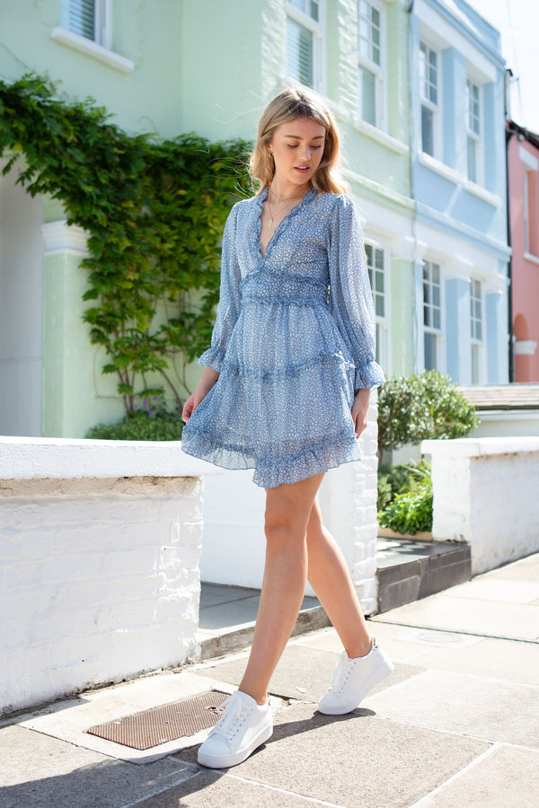 Dusky Blue Chiffon Frill Dress