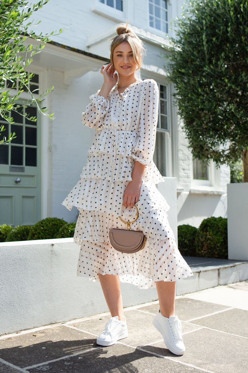Layered Frill Polka Dot Midi Dress