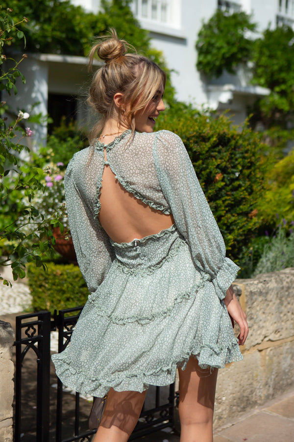 Dusky Green Chiffon Frill Dress