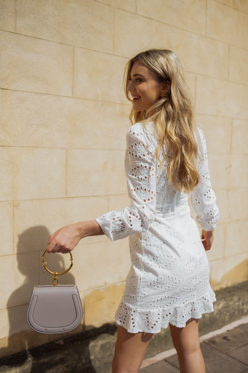 White Broderie Anglaise Tie Front Long Sleeve Dress