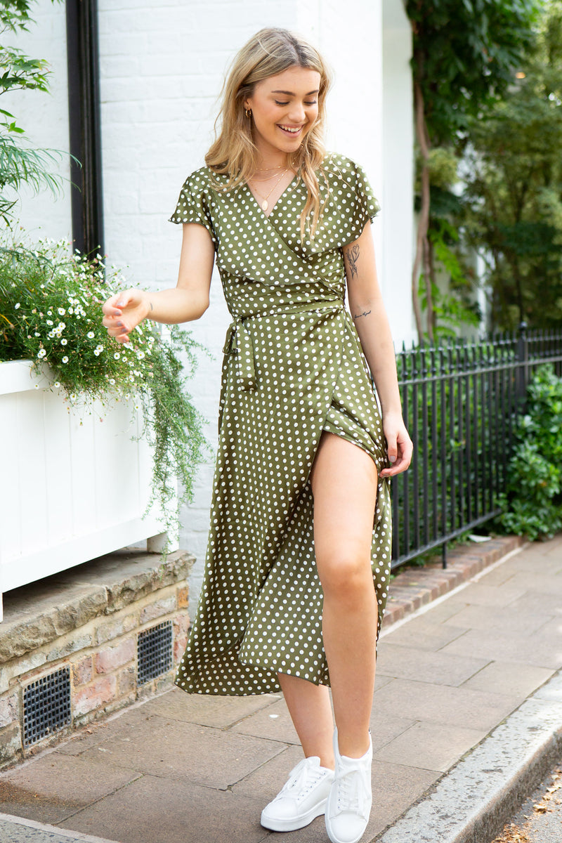 Olive Spot Satin Wrap Midi Dress