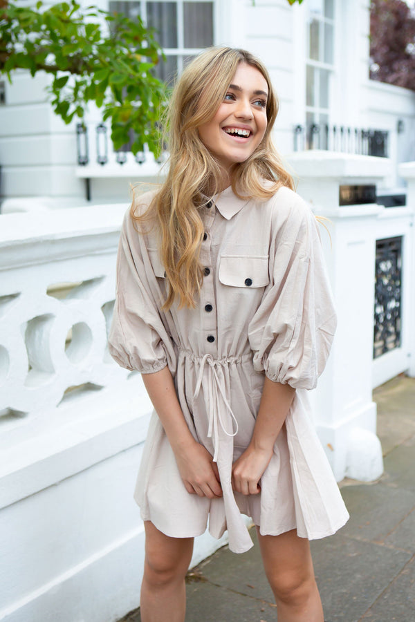 Sandy Beige Bell Sleeve Shirt Dress
