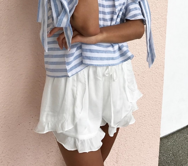 Silky Frill Beach Shorts in White