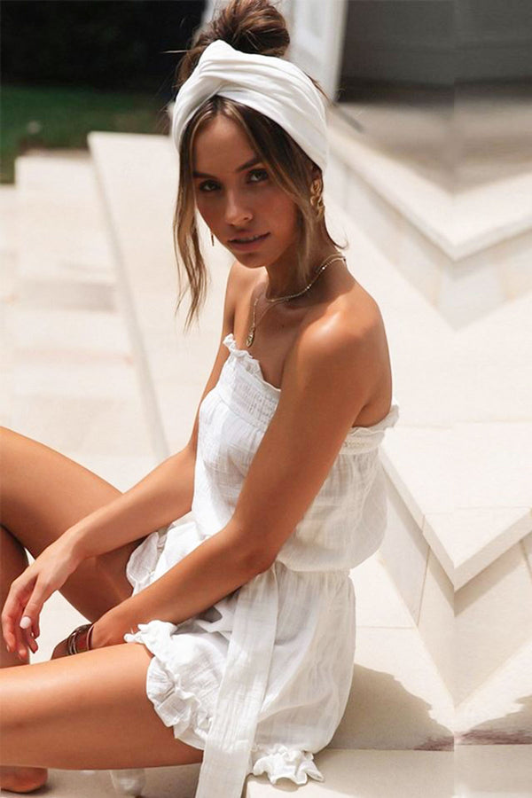 White Cotton Blend Off Shoulder Playsuit
