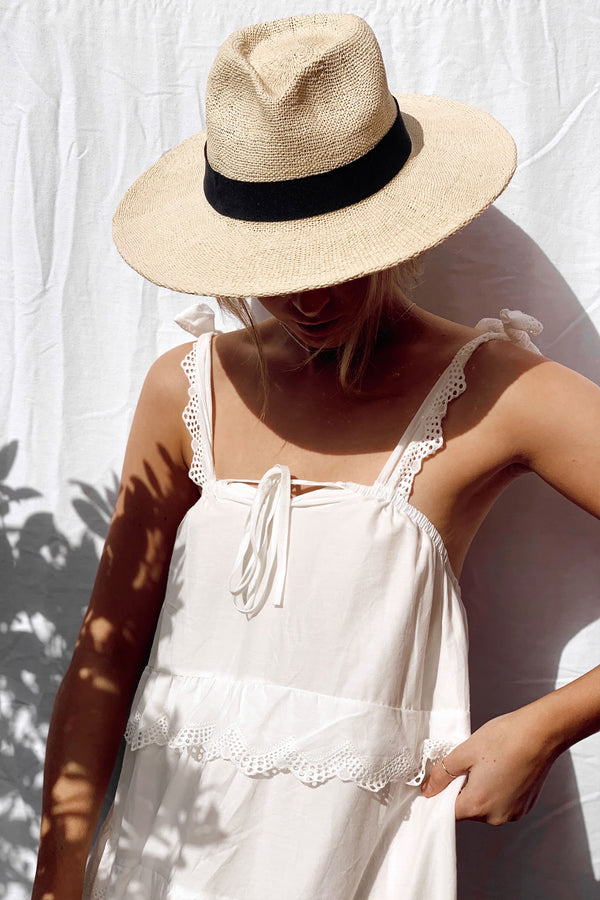 White Cotton Cami Maxi Dress