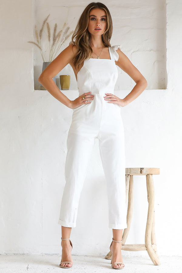 Frill Sleeve Cross Back Jumpsuit
