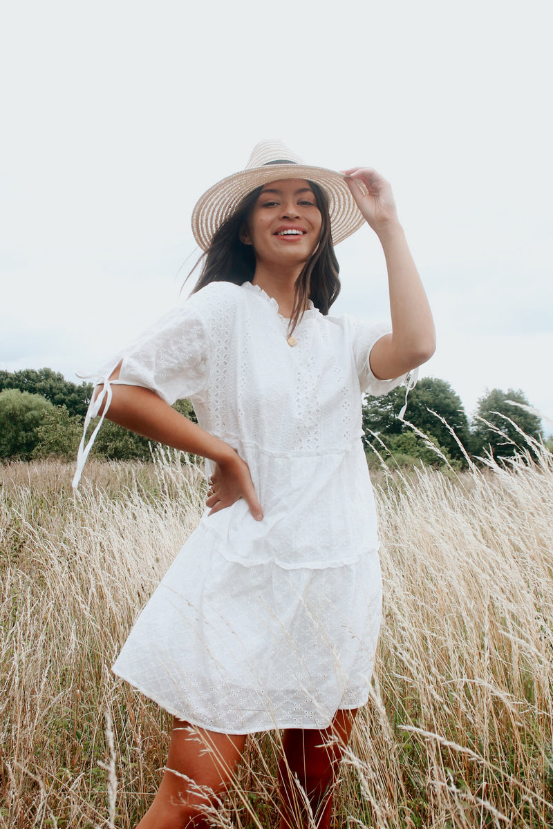 White Broderie Anglaise Mini Smock Dress