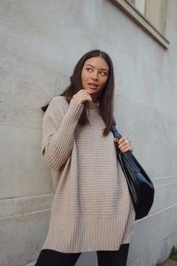 Taupe Soft Ribbed Roll Neck Jumper