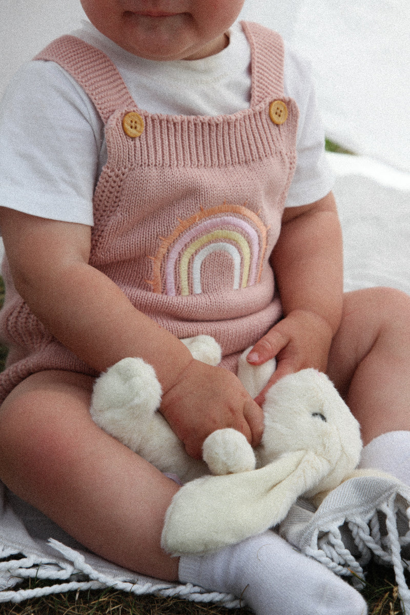 Dusky Pink Rainbow Knitted Romper
