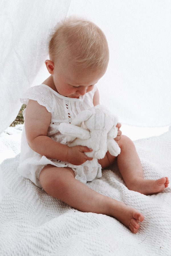 White Cotton Dobby Spot Romper