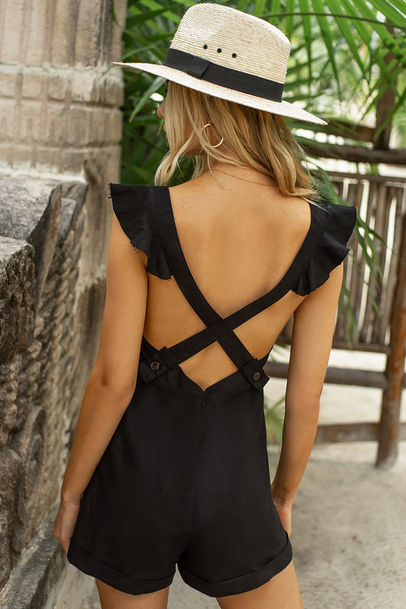 Black Frill Sleeve Cross Back Playsuit