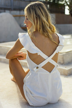 White Frill Sleeve Cross Back Playsuit