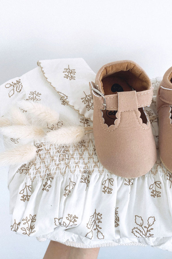Minnie and Monty Baby Clothing Traditional Baby Clothes  Nude Suedette Scalloped Buckle Pram Shoes