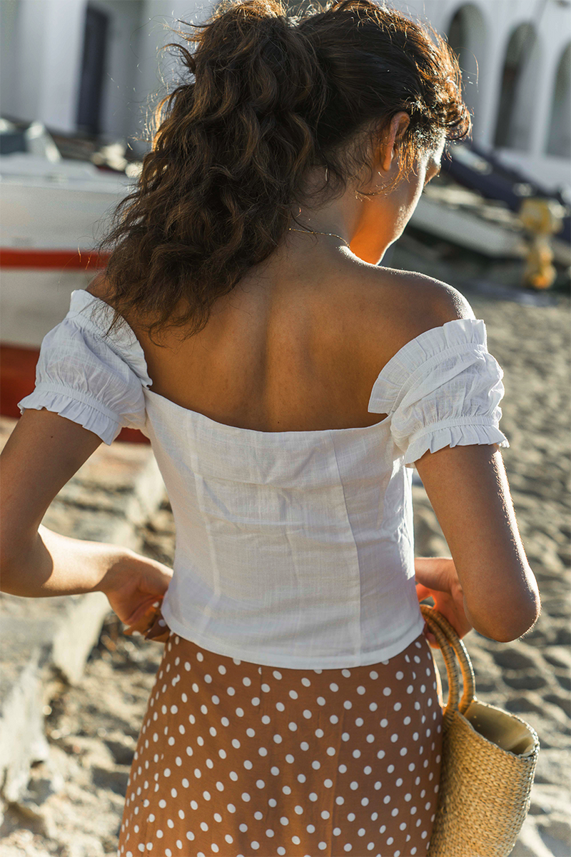 White Linen Off Shoulder Crop Top