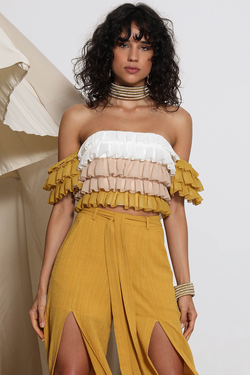 Sarabi Layered Ruffle Crop Top