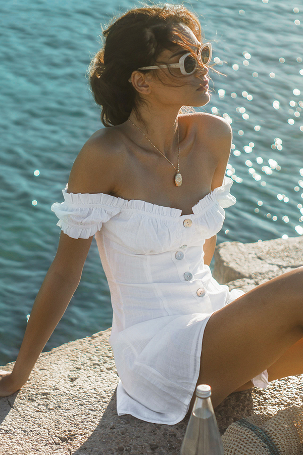 White Linen Off Shoulder Button Down Dress