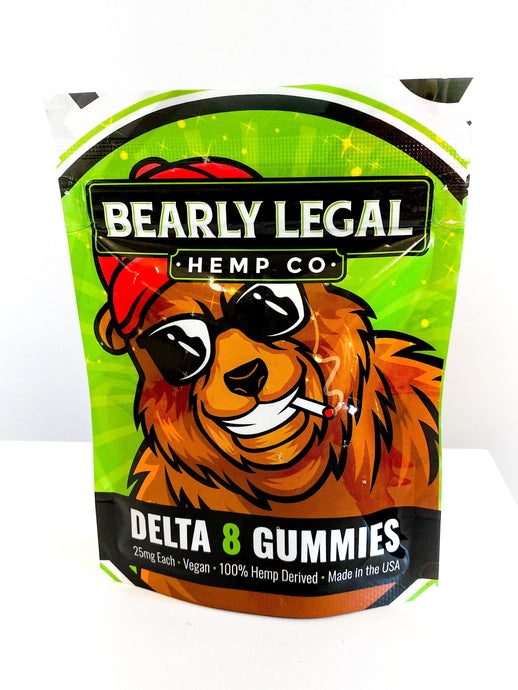 Delta 8 THC 25mg Gummies (200mg D8) - 8 pack - Blueberry - Bearly Legal Hemp