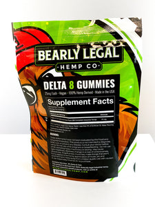 Delta 8 THC 25mg Gummies (200mg D8) - 8 pack - Strawberry - Bearly Legal Hemp