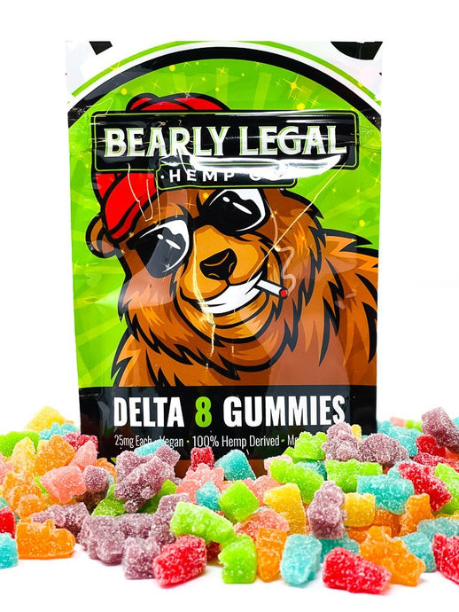 Delta-8-THC 25mg Sour Gummy Bears (1,000mg D8) - 40 pack - Mixed Fruit - Bearly Legal Hemp