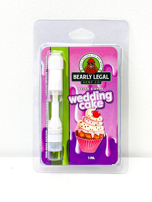 Delta-8 THC D8 Vape Tank- 1ml - Wedding Cake - Bearly Legal Hemp